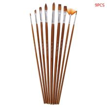 9pcs/Set Paint Brush Wooden Acrylic Painting Gouache Cosmetic Art Kit Drawing Pens купить недорого в Москве
