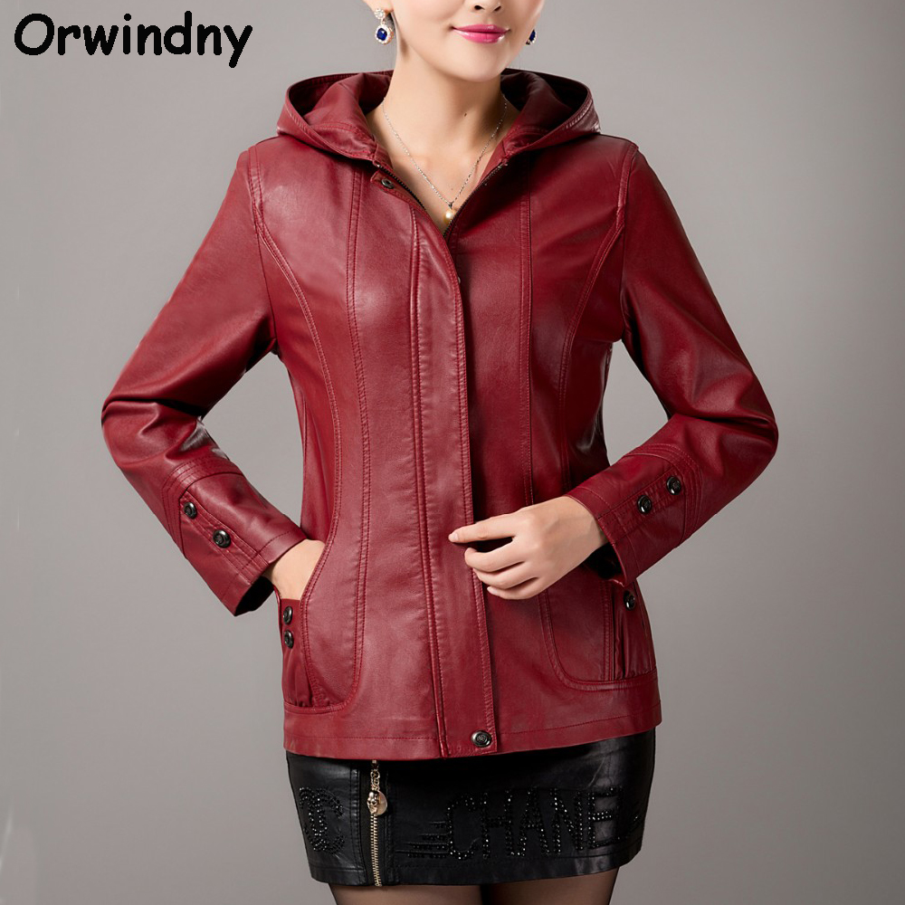 Faux   leather   jacket women long sleeve fashion   leather   coat high quality ladies clothing   leather   with hooded plus size M-5XL coat