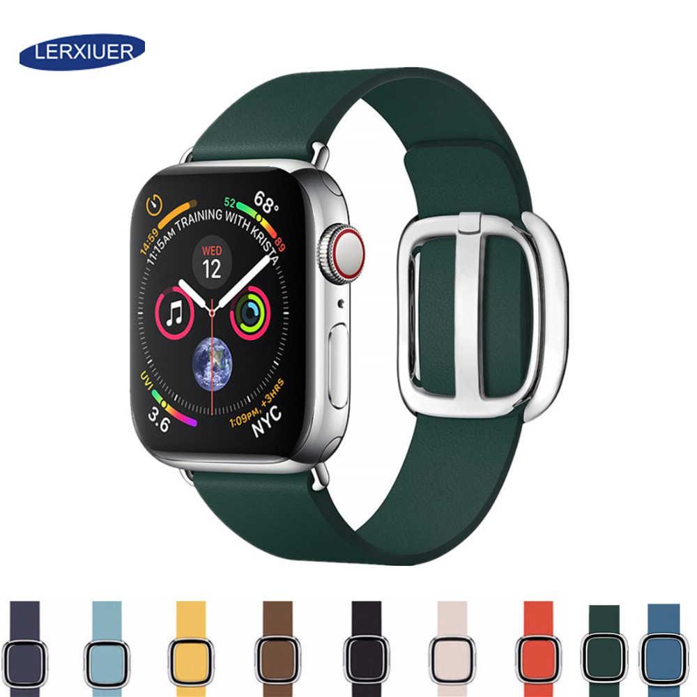 Skóra nowoczesny pasek z klamrą dla pasek do apple watch apple watch 5 4 44mm 40mm korea serii iwatch 3 2 1 bransoletka akcesoria do zegarków