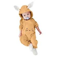 Recién Nacido bebé niño de dibujos animados chica 3D oído mameluco con capucha  ropa de bebé chica ropa infantil bebé traje de lo. f5ddde7f09bf