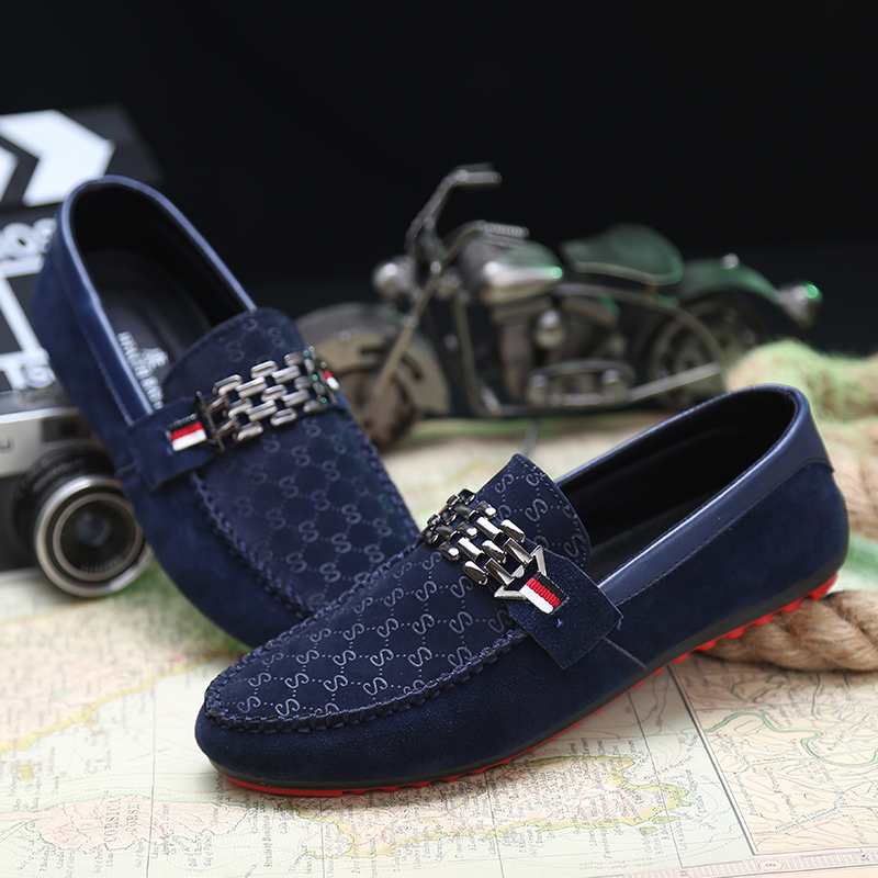 339950fa934 2015 Men Casual Loafer Shoes Classic Trendy Nubuck Leather Slip-on Loafers  British Style Men Driving Casual Blue Flat Shoes