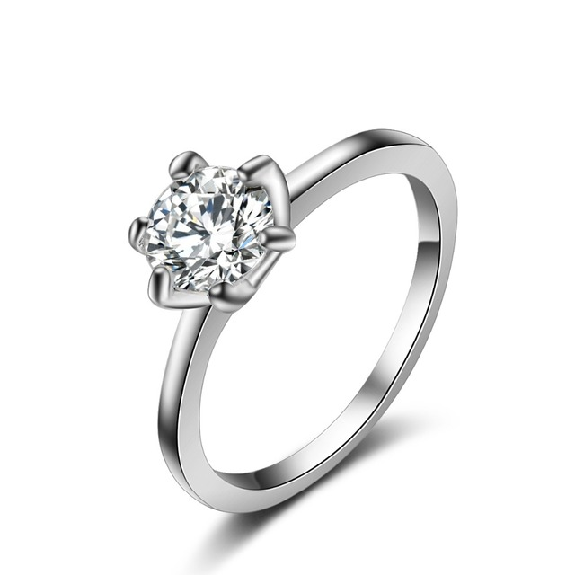 G1    classic love forever wedding band rings rose Silver color Sparkling AAA Round 6 CZ Crystal rings jewelry Women Ring