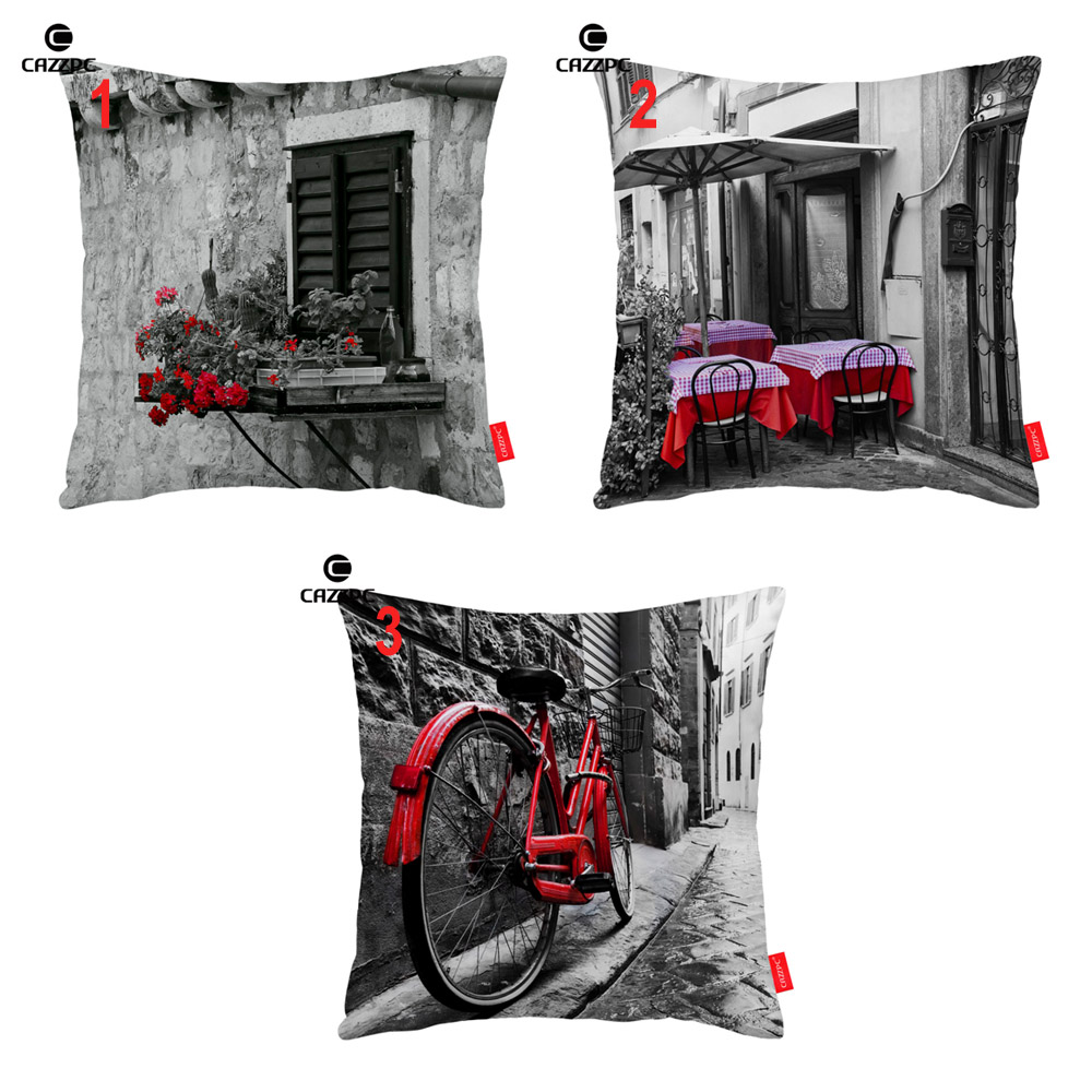 Black and White Street Window Red Floral Coffee Bike Print Decorative Pillowcase Cushion Covers Sofa Chair Home Decor