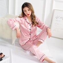 8ccd1ca18d Autumn Pajama Sets Silk Satin Sleepwear Suit Pyjamas Plus Size 3XL 4XL 5XL  Long Sleeve Women nightwear Set Casual home service