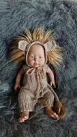Handmade Knit Newborn Animal Hat and Romper Newborn Lion Bonnet Overalls Prop Baby Boy Pants Prop Newborn Photo Prop