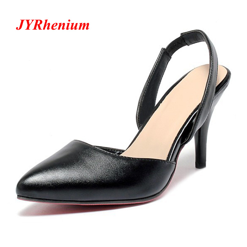 JYRhenium New Pointed Toe Classic Office Ladies Working Pumps 2018 Autumn Fashion Thin Heel High Heels Women Elegant Shoes Mujer все цены