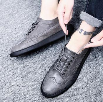 Spring Summer Men's Leather Formal Shoes Lace Up Men Sneakers Comfortable Man Brogue Footwears Black Red