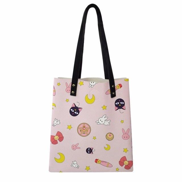 4232c2bda0fb Women Large Handbags Japan Anime Card Captor Sakura Sailor Moon PU Leather  Shoulder Shopping Bags Stylish Girl Tote Casual Bag