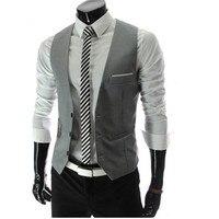 2017 Sale New Waistcoat Men Chaleco Hombre Gilet Homme Men Casual Suite Vest Plus Size Sleeveless Grey Suit Veste Sans Manche