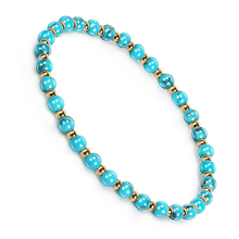 Natural Stone Beads Metal Hand Bracelet Trendy Turquoises Charms Strand Summer Stretch Fashion Jewelry Gift Lover For Women Men