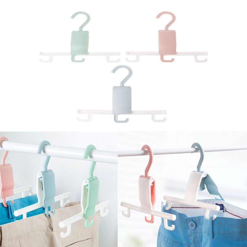 Durable Non Slip Laundry Pans Hanger Clothes Drying Rack With 3 Hooks Closet Organizer