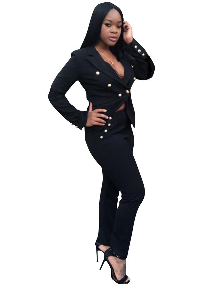 Black White Pants Suit Women Business Formal 2 Piece Pant Set Female (6) -