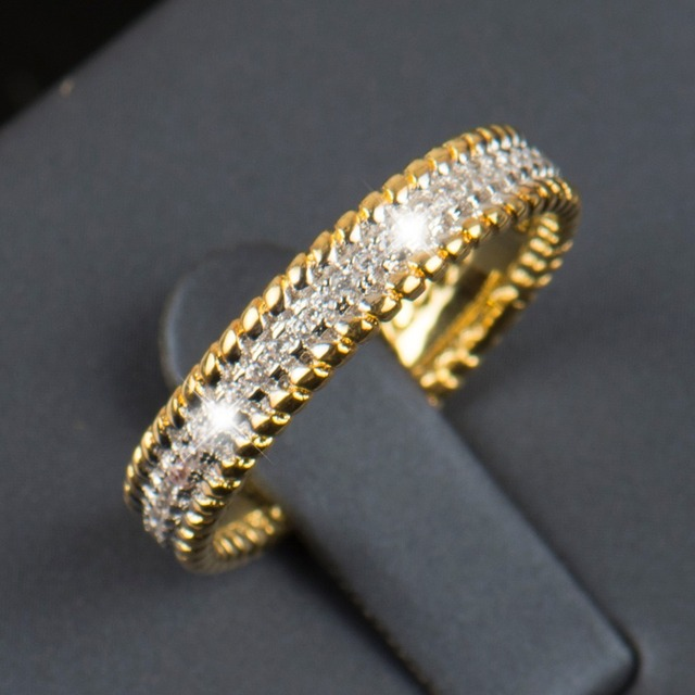 2016 R&J New fashion Real 925 sterling silver ring 5A Zircon Wedding Band Jewelry Gold filled plated of women gift