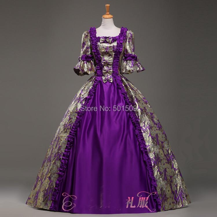 purple Medieval Renaissance ruffles floral Gown queen Dress Victorian Gothic Marie Antoinette civil war Colonial Belle
