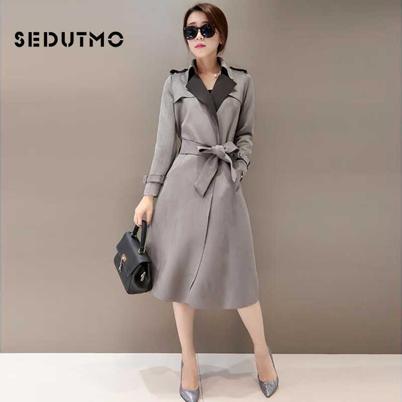 Sedutmo зимние высокие замшевые Тренч Для женщин Oversize уличная куртка Harajuku Повседневное пальто Винтаж осень легкое пальто ED479
