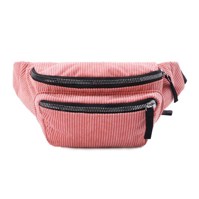 WoMan Waist Pack Corduroy Chest Pack Vintage Phone Pouch Belt Messenger Shoulder Bags