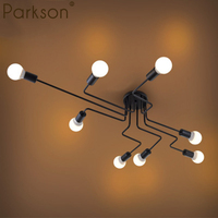 4/6/8 Vintage Pendant Lights Multiple Rod Wrought Iron Ceiling Lamp E27 Bulb Living Room Lamparas for Home Lighting Fixtures