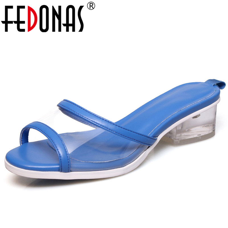 FEDONAS 2019 Summer New Fashion Concise Women Sandals Mixed Colors Shallow Rome High Heels Shoes Woman Casual Basic Party Shoes