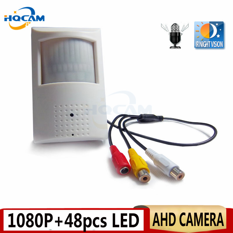 HQCAM 1080P Mini AHD camera Night Vision 48pcs IR 940nm 3.7mm lens 2.0megapixel PIR IR Camera CCTV AHD mini camera ahd infrare 4 in 1 ir high speed dome camera ahd tvi cvi cvbs 1080p output ir night vision 150m ptz dome camera with wiper