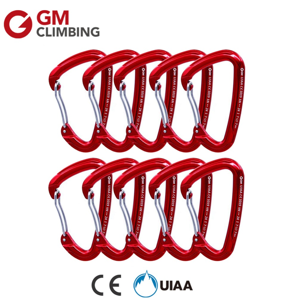 10 x 24KN/5400lbs Aluminum Bent / Wire Gate Climbing Carabiner Lot Outdoor Rock Climbing ...
