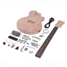 Muslady Children LP Style Unfinished DIY Electric Guitar Kit Mahogany Body & Neck Rosewood Fingerboard Single Dual-coil Pickup