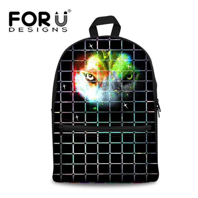 FORUDESIGNS Cool Wolf Printing School Bags for Boys Girls,3d Animal Kids Book Bag to School,Children Canvas Schoolbag mochila