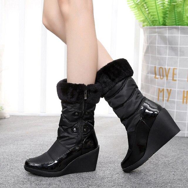 Mode fourrure de neige d'hiver Bottes femme Bottes talons 2017 femmes cheville Bottes hiver chaud chaussures de neige,noir,35