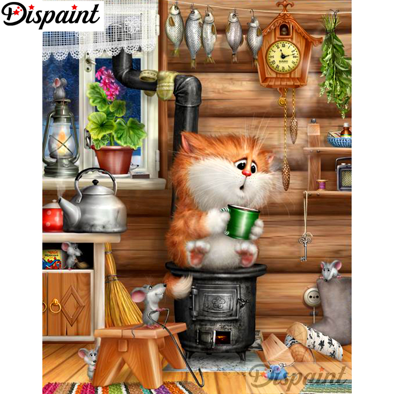 Dispaint Full Square Round Drill 5D DIY Diamond Painting quot Cartoon cat quot Embroidery Cross Stitch 3D Home Decor A10685 in Diamond Painting Cross Stitch from Home amp Garden