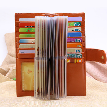 Women Men Leather Business Card Holder Credit Pocket 56 Clips Pack Bank Credit ID Cards Bag Cardholders grille