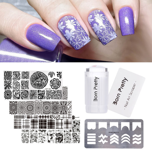 BORN PRETTY Nail Stamping Tool Set 2.8cm Clear Silicone Stamper ...