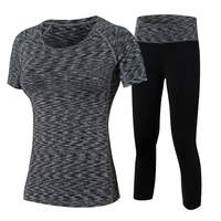 Yuerlian Gym Fitness Yoga Set Workout Running Tracksuits Compression Leggings Tights Costumes Women'S Shirts Wicking Sport Suit