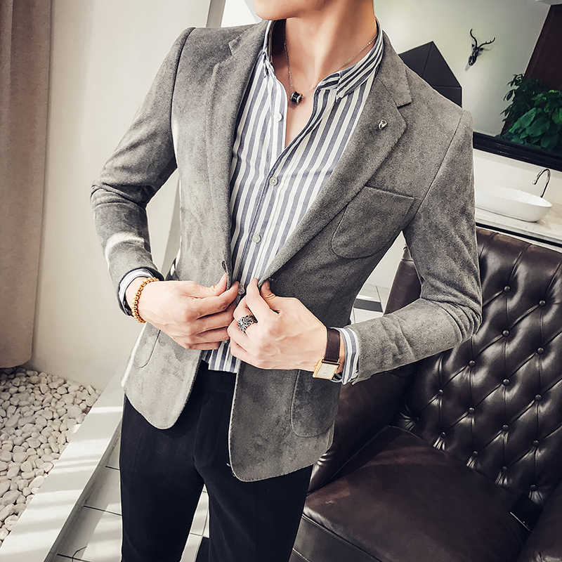 364ae9f84 ... Spring and autumn new suede jacket Korean men's self-cultivation suits  single-Western clothing ...