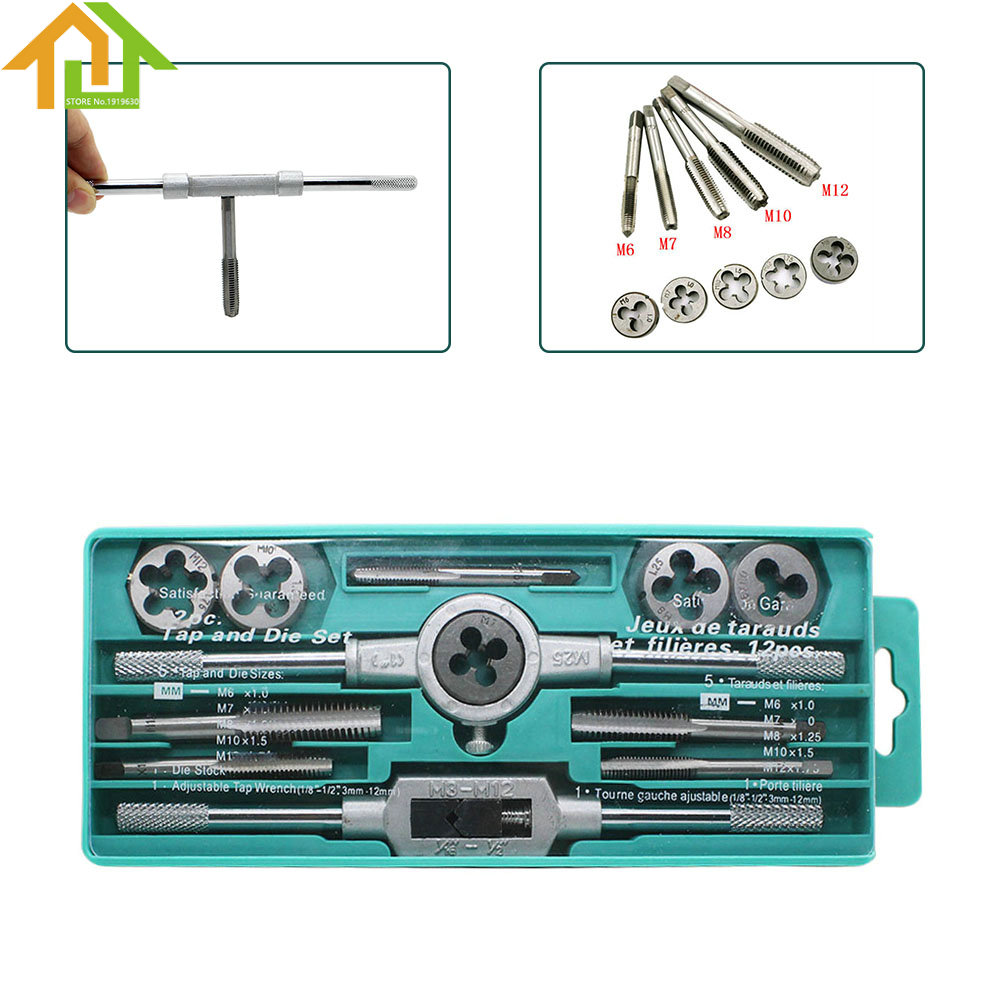 M3-M12 Adjustable Wrench Screw Thread Plugs Straight Taper Drill Repair Kits Hand Taps Metric Handle Tap and Die Set 20pcs m3 m12 screw thread metric plugs taps tap wrench die wrench set