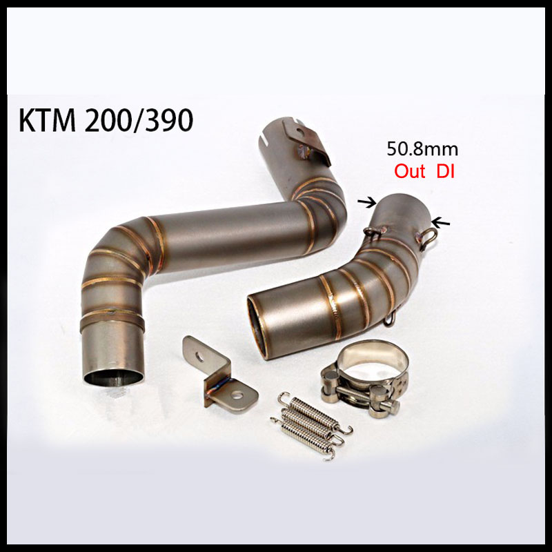 51mm Motorcycle Modified Exhaust Middle Pipe Case For KTM DUKE200 DUKE390 2012-2014 motorcycle stainless slip on exhaust mid pipe for ktm 390 duke 2013 2014 2015 2016