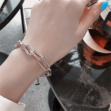 Silver Personality fashion stitching chain flash drill bracelet decorative female rhinestone oval geometric