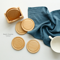 6pcs Beech Wood Coasters Cup/Bowl/Pad Placemat Coffee Tea Cup Pads&Mats Teapot Drink Coasters for Home Decoration