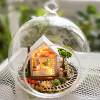 DIY Dollhouse Miniature Model Magic Garden Glass Ballhouse Assembled Scene With Lights For Kids Juguetes Brinquedos