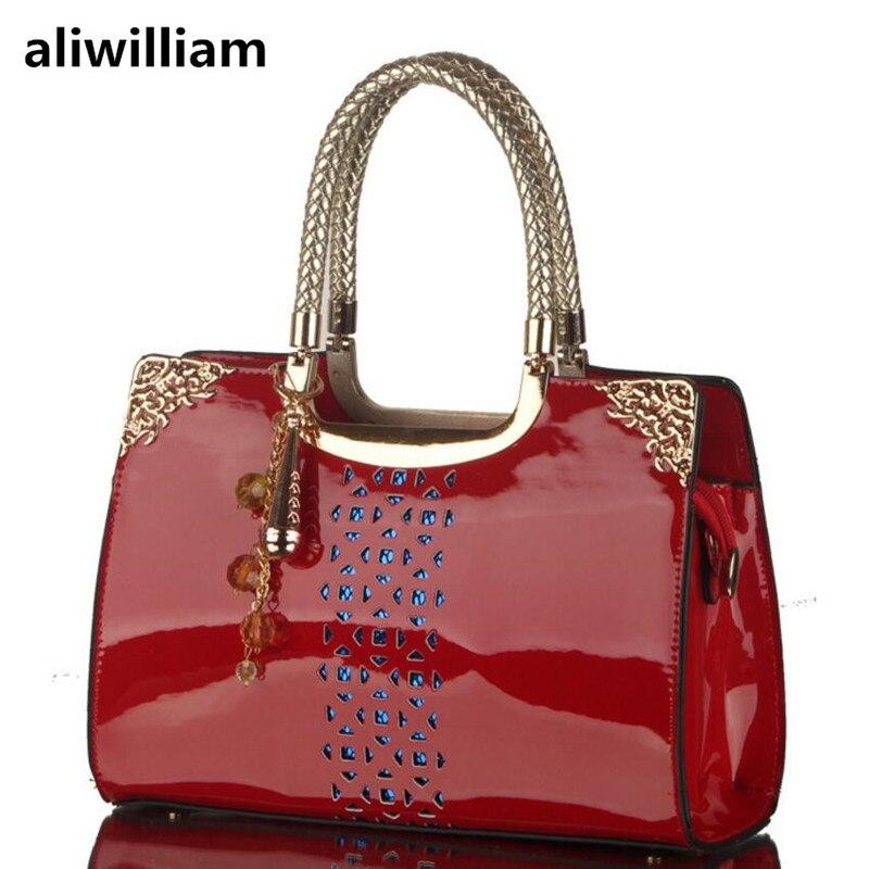 ALIWILLIAM Bag New Patent Leather Handbags Openwork Ladies Fashion Handbag Shoulder Messenger Ladies Bag Best Selling Package aliwilliam bag female 2017 autumn new