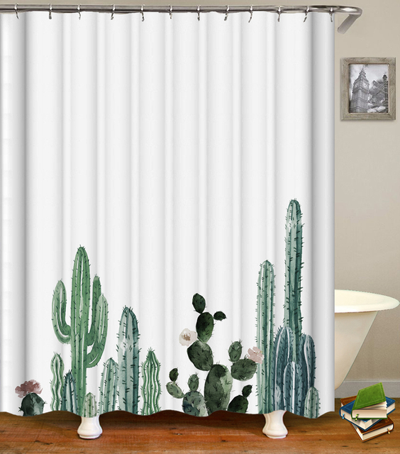 Enipate Tropical Cactus Shower Curtain Waterproof Polyester Fabric Bath Curtains For The Bathroom Decorate With Plastic