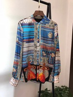 Модные женские блузы и рубашки 2019 взлетно посадочной полосы Элитный бренд Европейский дизайн вечерние Стиль Женская Костюмы WD11704