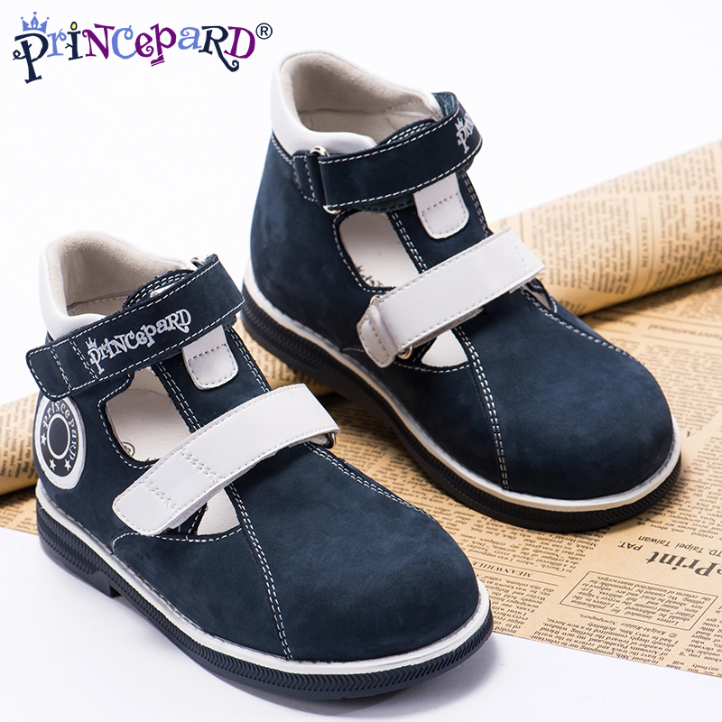 Princepard 2018 summer orthopedic sandals for boys navy genuine leather shoes orthopedic shoes pig leather lining