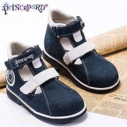 Princepard 2018 estate ortopedici sandali per i ragazzi navy pattini di cuoio genuini scarpe ortopediche fodera in pelle di maiale solette 21-36