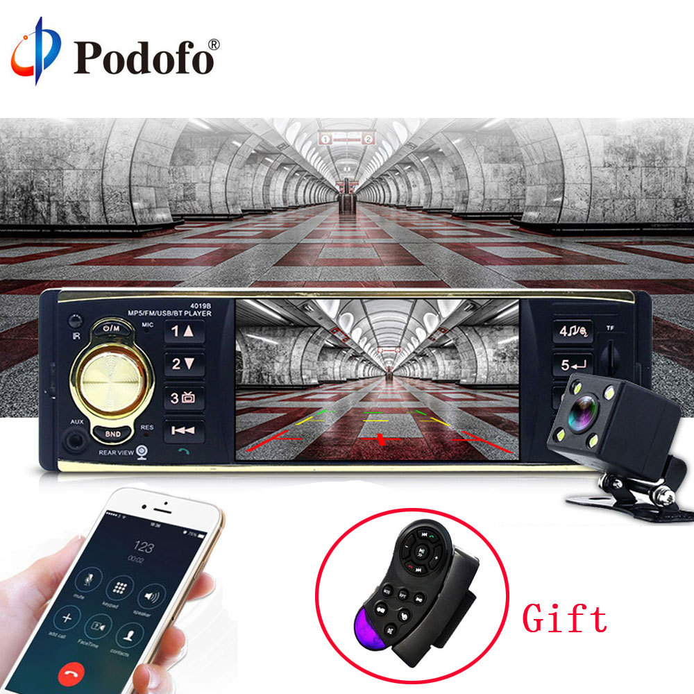 Podofo 4 Car Radio Audio Stereo TFT Screen 1 Din MP3 Car Audio Player Bluetooth With