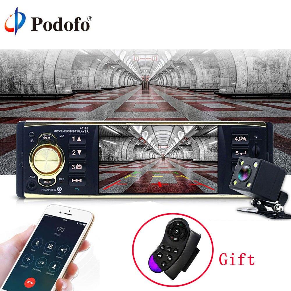 Podofo 4 ''coche Radio Audio estéreo TFT pantalla 1 Din MP3 jugador Audio del coche Bluetooth retrovisor con cámara remota control USB FM