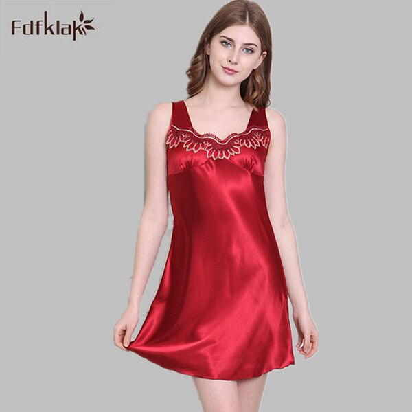 d83b583a1ac2 M-4XL Plus Size Hot Sale Women s Nightgown Satin Nightwear Summer Sexy  Sleeveless Silk Nightgowns Woman Night Sleepwear E1041