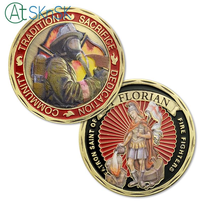 1/3/5/10pcs Tradition Sacrifice Dedication Community ST Saint Florian Patron Saint Of Fire Fighters Challenge Coin US Coins Gift