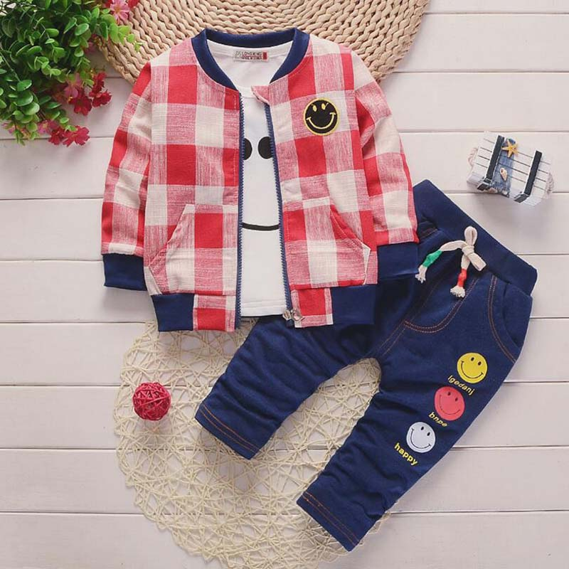BibiCola 2018 new infant boys clothes set children spring autumn cotton baby boys tops jacket+ t shirt +pants 2pcs kids clothes