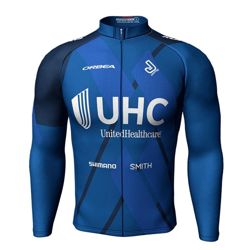 Jakroo UHC Pro Team Cycling Jersey Winter Fleece Men's Full Sleeve Cycling Jerseys Full Zipper Cycling Equipment 3D Tailoring live team cycling jerseys suit a001