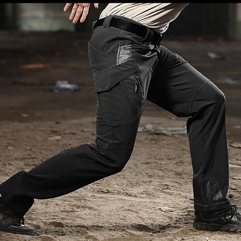 Winter Army Military Tactical Softshell Pant Men Heat Reflective Waterproof Windproof Warm Work Fishing Hunting Cargo Trousers - Цвет: Черный