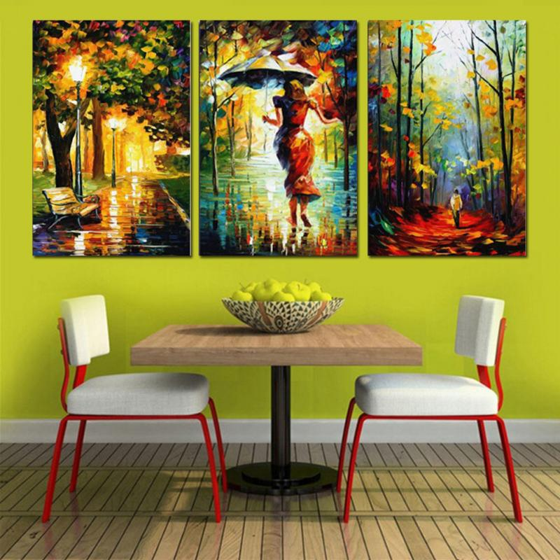 Frameless Canvas Art Abstract Oil Painting On Canvas 3 Panel Street ...